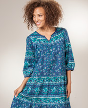 La Cera Housedresses - 2/3 Sleeve Cotton Dresses in Blueberry Paisley