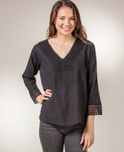 Cotton Tunic - Easy Fit Crocheted Lace Crinkle Cotton Top - Black