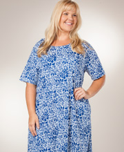 "Plus La Cera ""Easy Fit"" Knit A-Line Dress - Blue Floral on White"
