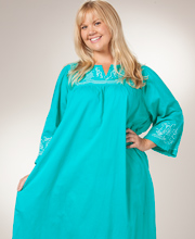 Plus Cotton Caftan by La Cera - Embroidered Dress in Aqua Delight