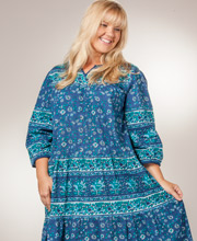 La Cera Plus Size Housedresses - 2/3 Sleeve Cotton Dresses in Blueberry Paisley