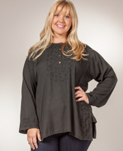 Women's Tunic Top - Long Sleeve Easy Fit Plus Rayon Shirt in Black
