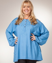 One Size Plus Tunic Top - 100% Rayon Long Sleeve Shirt in Blue