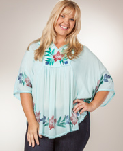 Easy Fit Poncho Top - 100% Cotton Caftan Top in Aqua Bliss