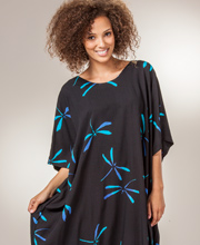 23ad4dc2da Caftans by Bali Batiks - Rayon One Size Women's Caftan in Dragonfly Night