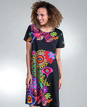 La Cera Dresses - Short Sleeve Cotton Knit A-Line Dress in Night Glow