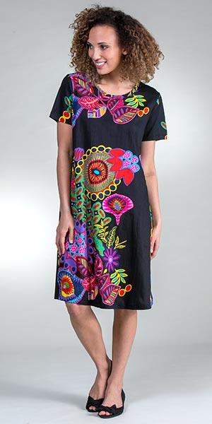 LA CERA Plus Cotton Knit Short Sleeve A-line Dress in Simply Navy