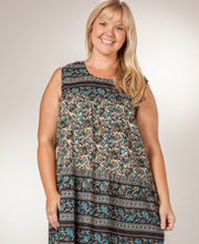 Plus Size 1X to 4X Dress by La Cera 100% Cotton Sleeveless - Teal Paisley
