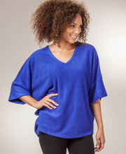 Poncho Top - Natori Poly Blend Terry V-Neck Top in Indigo