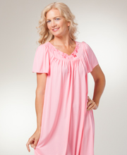Long Miss Elaine Classics Flutter Sleeve Nylon Nightgown - Coral