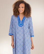 Women's Woven Cotton Caftan - 2/3 Sleeve La Cera Lounger - Mandolin Blue