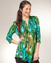 La Cera Tunics - Pleated 3/4 Sleeve Poly Blend Blouse - Peacock Pretty