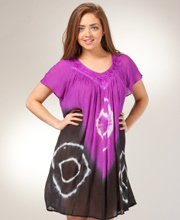 Short Sundress - Semi-Sheer Cap Sleeve Beach Coverup in Grape Spirit