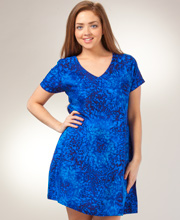 Peppermint Bay Dresses - Short Sleeve Rayon Short Dress In Royal Monet