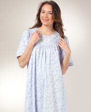 Calida Cotton Nightgowns - Short Sleeve Knit Nightgown In Peri Floral