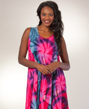 Plus Beach Dress - Sleeveless Rayon Long One Size Cover-up in Fuchsia Burst