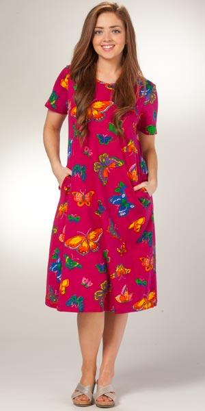 3309e7f50 La Cera Dress - Cotton Knit Mid-Length Short Sleeve in Butterfly Bliss