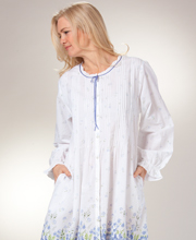 Cotton Robes by La Cera - Button Front Long Robe or Gown in Meadow Mist