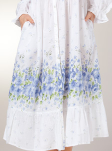 Cotton Robes by La Cera - Button Front Long Nightgown in Meadow Mist 3a25a2959