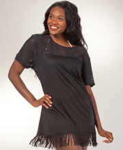 Plus Beach Coverup - Short Sleeve Cotton Knit Tunic Top in Wink