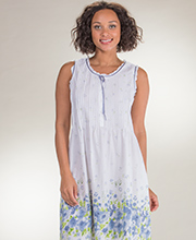 Nightgowns by La Cera - Sleeveless Long Cotton Lawn Gown - Meadow Mist