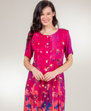 La Cera Dress - Rayon Short Sleeve Button Front - Raspberry Garden