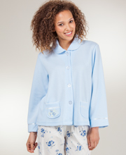 KayAnna Peter Pan Collar Cozy-Knit Waffle Poly Bed Jacket - Blue