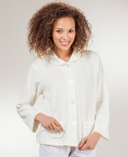Cozy-Knit Bed Jacket - Peter Pan Collar Waffle Poly by Kay Anna In Ivory
