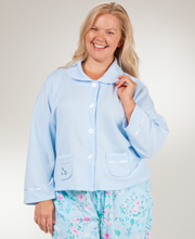 Plus KayAnna Peter Pan Collar Cozy-Knit Waffle Poly Bed Jacket - Blue