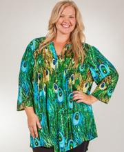 775d7209776c90 Plus La Cera Tunics - Pleated 3 4 Sleeve Poly Blend Blouse - Peacock Pretty