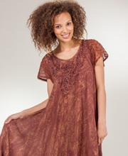 Cotton Beach Dress - Short Sleeve One Size Beach Coverup - Mocha Batik