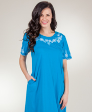 Cotton Dresses - La Cera Short Sleeve Mid-Length Dress in Picturesque