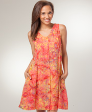 Button Front Dresses - Eagle Ray Sleeveless Dress in Citrus Island