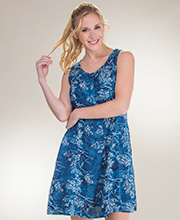 Sleeveless Button-Front Batik Dress by Eagle Ray in Navy Mystique