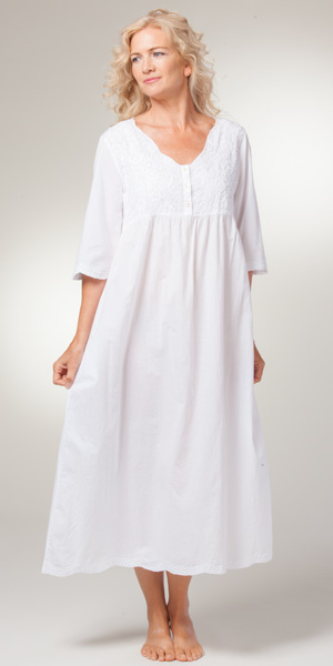 new appearance designer fashion new products La Cera Boutique Embroidered Long Cotton Nightgowns in White Sunflower