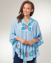 Women's Cotton Caftan Top - One Size Fits Most Poncho Top - Blue Bliss