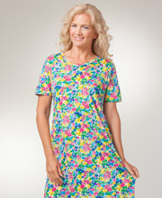 Cotton Knit Dress - Short Sleeve La Cera A-line Dress in Cheery Floret