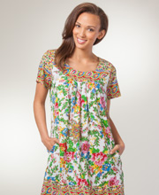 Cotton House Dress - La Cera Short Sleeve Float Dress - Ivory Tapestry