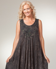 Beach Dresses - Cotton One Size Sleeveless Dress in Black Batik