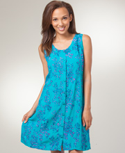 Sleeveless Eagle Ray Button-Front Batik Sun Dress in Tropic Whisper
