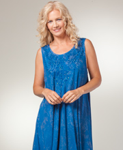 Cotton Beach Dress - One Size Sleeveless Dress - Blue Batik