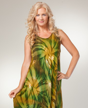 Women's Long Beach Dress - Sleeveless One Size Cotton Cover Up - Dynasty