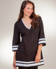 100% Cotton Tunics - Peppermint Bay 2/3 Sleeve V-Neck Top in Catamaran