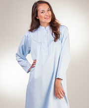 Kayanna Brushed Back Satin Long Mandarin Collar Nightgown  in Blue