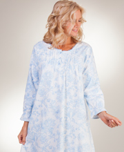 Flannel La Cera Nightgowns - Pintucked Round Neck Gown - Imperial Blue