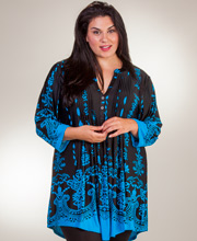 Plus La Cera Pleated 3/4 Sleeve Poly Blend Tunic - Ethereal Turquoise