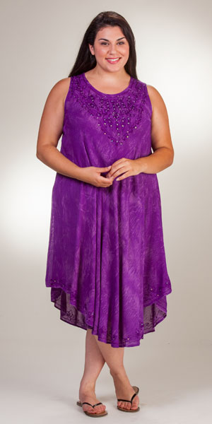 d8fa062fbc3b Plus Beach Dresses - One Size Sleeveless Cotton Dress in Purple Batik