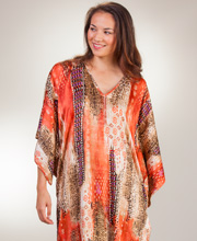 "Natori Caftans - Satin Charmeuse Kaftan from ""N"" by Natori - Desert Crystal"