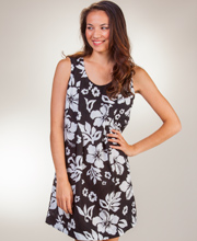 Peppermint Bay Cotton Sleeveless Short A-Line Dress in Maui Shadow