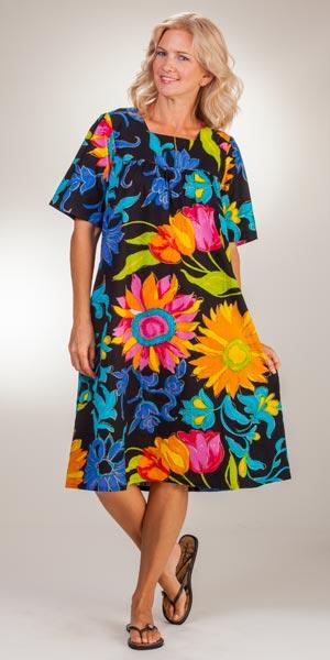 2bffd718f4cba7 La Cera Women s Dresses - Cotton Short Sleeve House Dress - Neon Garden